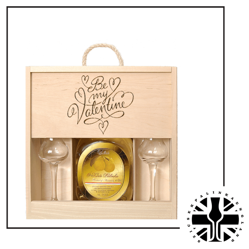 Szicsek's Aged Palinka in a Wooden Gift box with 2 tulip glasses